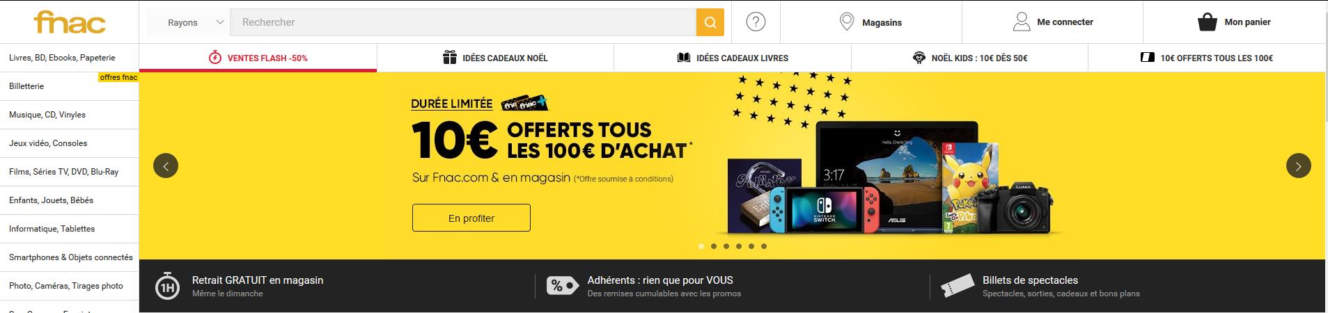 Bannière on-site Fnac, campagne web Black Friday - agence web k4tegori