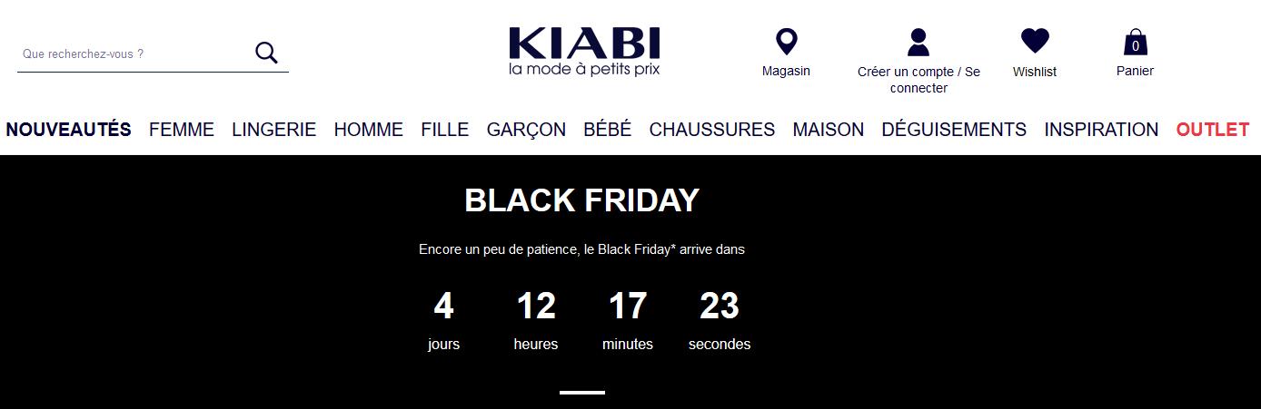 Compte à rebours Kiabi & stratégie digitale black friday - k4tegori