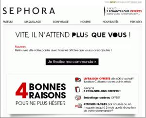 Relance panier Sephora, actions webmarketing black friday - agence digitale k4tegori