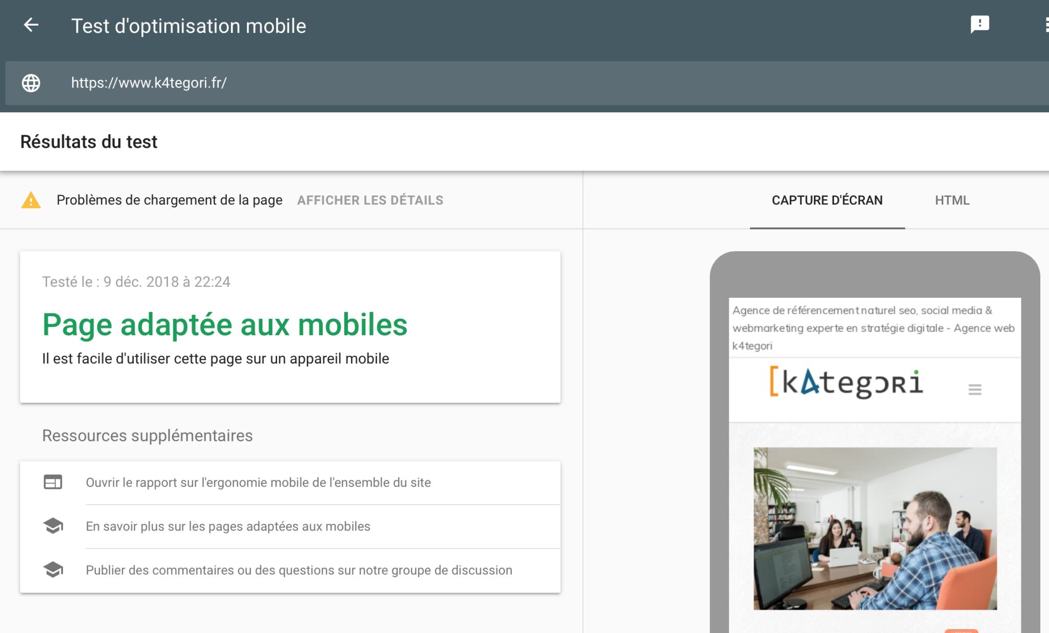 mobile test seo google - agence k4tegori